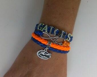Florida Gators  Football love infinity Rhinestone letters  para cord 4 in 1 bracelet ! Florida Gators bracelet !