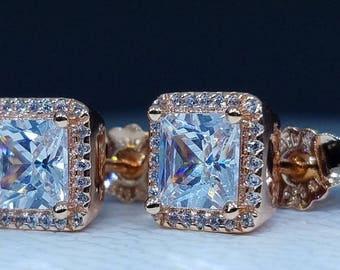 new Pandora rose gold TIMELESS ELEGANCE EARRINGS 280591CZ hot gift girl christmas gift