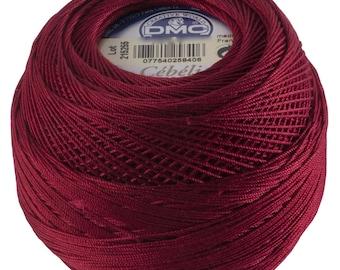 DMC Cebelia Size 10 100% Cotton Crochet Thread - 284 Yards - Color 816 Garnet