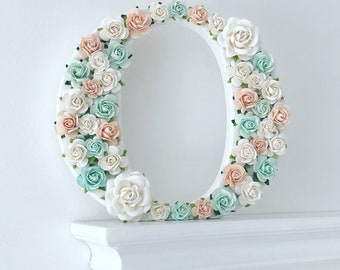 Nursery Letter - Floral Wooden Letter - Nursery Decor - Baby Shower Gift - New Baby Gift - Green, Peach & White - 20cm