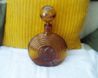Vintage Amber Decanter with Eagle and Large Round Stopper