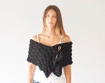 Sales Black knit Shoulder Wrap neck warmer button scarf long scarf cowl neck warmer womens scarf