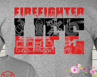 Monogrammed Firefighter Fireman T-Shirt TShirt Customized Rescue Volunteer Fire Department