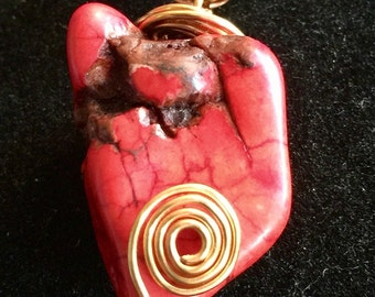 Red Magnesite and Copper pendant necklace