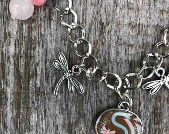 Personalized Bracelet, Bracelets for Women, Dragonfly Bracelet, Dragonfly Jewelry, Letter Bracelet, Bracelets for Girls, Charm Bracelet