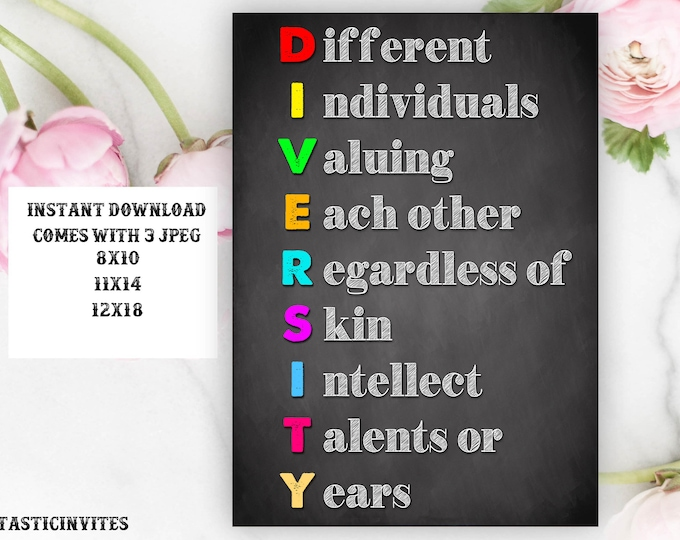 Diversity Inspirational Classroom Poster Sign, Classroom Decor, School Sign, Inspirational Saying, Inspirational Art, Teacher gift, Poster