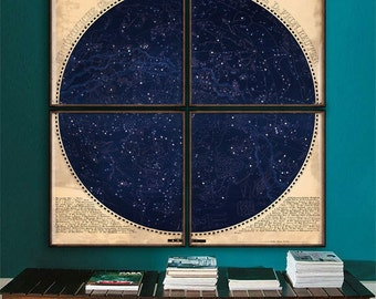 """Northern Sky map 1850, Astronomical chart, star constellations, 4 sizes up to 60x60"""" 150x150 cm in 1 or 4 parts - Limited Edition of 100"""