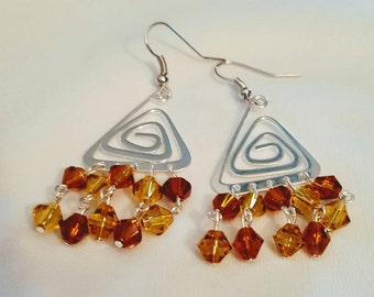 Triangle Crystal Earrings, silver, dangles, chandelier