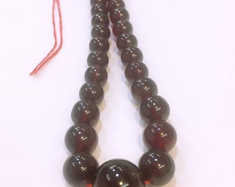 AAA Quality Red HESSONITE GARNET Big Rare Natural Plain Round Beads Neckless