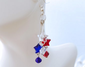 Patriotic 4th of July Earrings, Red White & blue Jewelry, 4th of July picnic,party,Memorial day,Patriotic Jewelry, Beaded earrings,