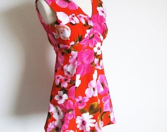 60s Mini, Pink Flower Power Dress, X Small Vintage