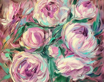Peonies, Bright painting,Flowers painting, Oil painting, Flowers painting, Original painting, For her, Best gift, Chocolate, Pink colour
