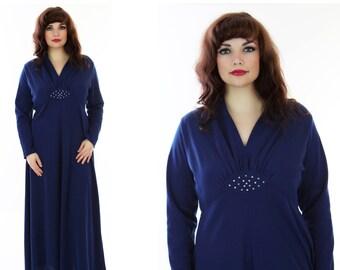 70s Disco Dress Empire Waist Grecian Goddess Rhinestones Drapey Maxi Hostess 1970s Full Skirt  Event Large XL Plus Size