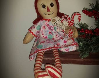 primitive candy cane rag doll, Raggedy Ann Christmas doll, Christmas raggedy Annie, Christmas decor, Christmas gifts for girls, OFG, FAAP