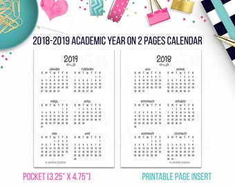 Pocket: 2018-19 Academic Year on 2 Pages (Yo2P) Calendar • Printable Page Insert for Pocket size Discbound / Ringbound Organizers or Planner
