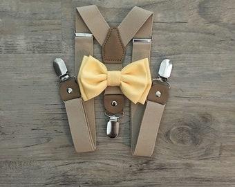Suspender & Bow tie Set/ Solid Yellow Bow tie/Yellow Bow tie/ Birght Yellow Bow tie/ Tan Suspenders/ Mustard Yellow/Wedding