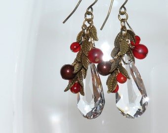 Crystal Berry Earrings, Swarovski Crystal Dangle Earrings Winter Berries Nature Inspired OOAK Handmade Jewelry Holiday Season Gift for Her