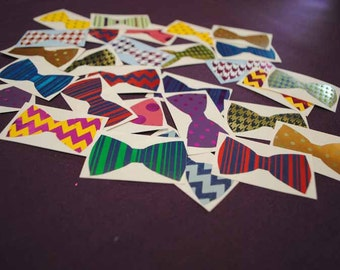 12 Assorted Foiled Patterned Bow Tie Decals | Hair Bow Decals