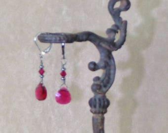 Swarovski Briolette Crystal Earrings, Dangle Earring, Brass Drop Earring, Bridesmaids Earrings, special occasion earring, red earrings
