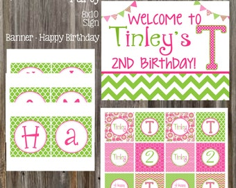 PAISLEY & CHEVRON Pink and Green Birthday Party Package - Girl Printable