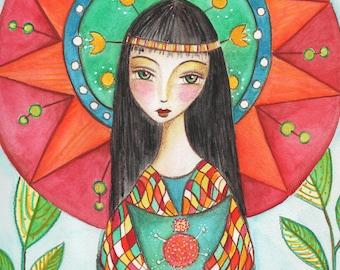 Goajira girl. Art print, watercolor print, Illustration, Ethnicity, Colorfull,5X7