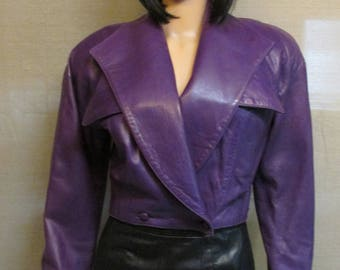 Vintage 1980's Vakko Purple Leather Short Motorcycle Style Cropped Jacket Made in USA Size S