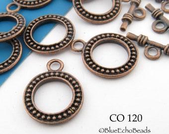 Antique Copper Toggle Clasp Copper Clasp 15mm (CO 120) 6 sets