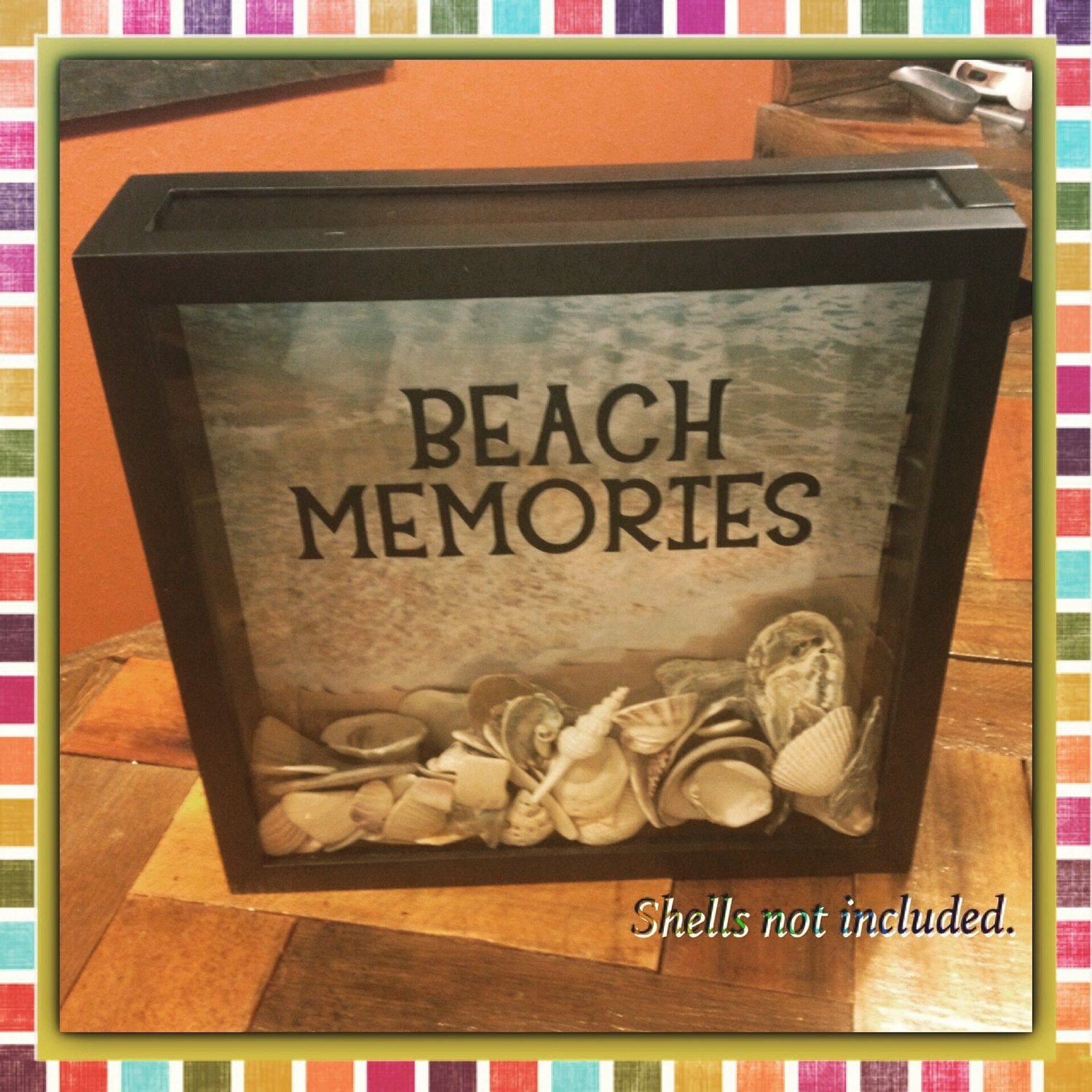 Seashell collection beach memories box 12x12 display for Ideas for displaying seashells