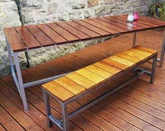 Outdoor Wood & Steel Handmade Bench