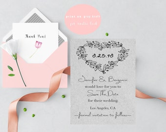 Save the Date Template, Rustic Wedding Save the Date Card, Kraft Save the Date Printable, Rustic Wedding Invitation Template, 5x7 Invitation