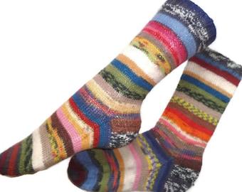 Scrappy socks, hand knit OOAK wool socks, Christmas socks for women,  art socks, gift for friend, gift for daughter, striped socks,