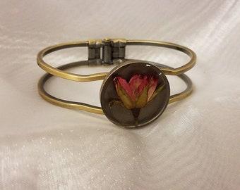 Pink Rose- Antique Brass Bracelet
