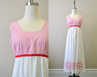 1960s Red and White Floral Cotton Maxi Dress