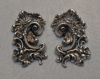 LuxeOrnaments Sterling Silver Plated Brass Filigree Stamping Pair 31x17mm Left and Right (1 pair) F-A1430-S