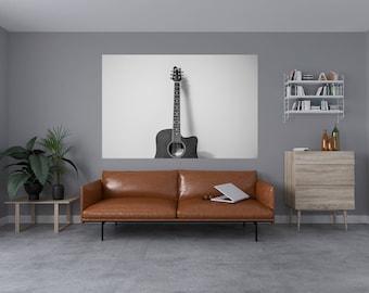 Black & White Guitar Self Adhesive Vinyl Art Decals 1024