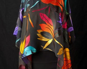 Hand Dyed Over the Rainbow Magnolia Silk Poncho