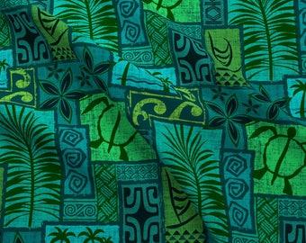 Hawaiian Fabric - Moku Malihini On Blue By Madtropic - Hawaiian Blue Green Turtle Tiki Cotton Fabric By The Yard With Spoonflower