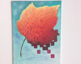 Leaf and Pixels Original Painting