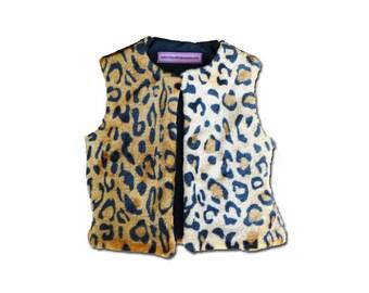 vest faux fur 6 months / birthday gift / faux fur leopard