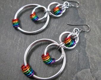 Rainbow Earrings - Pride Earrings - Rainbow Hoops - Pride Jewelry - Double Hoop Earrings