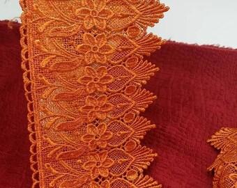 red-orange/purple guipure lace trim