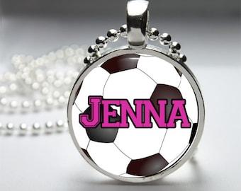 Sports Glass Dome Pendant Necklace, Custom Sport Necklace, Soccer Necklace, Softball Necklace, Basketball Necklace