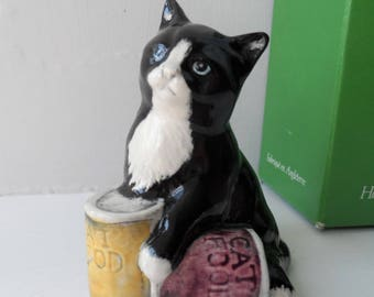 Vintage ROYAL DOULTON ~ Black Kitten Cat With Tins of Food ~ Dinner Time ~ Model 6476 ~ Boxed