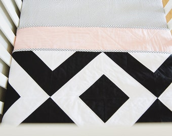 "Modern Baby Quilt. Bold Black and White, Graphic Geometric Quilt. ""The Grace"" with a Soft Pink Backing. Quilted Baby. Baby Girl Quilt."