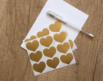 "1.5"" bronze sticker, heart sticker, wedding sticker, paper metallic sticker, letter envelope seal label, self adhesive bag gift packaging"
