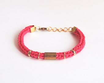 Neon pink bracelet with tube, knit cord bracelet for stacking, cotton and brass