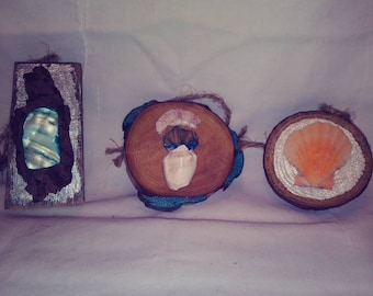 Wood and seashell ornaments 2