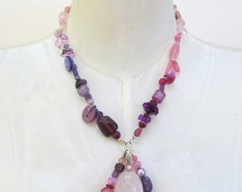 Beaded Necklace for Women-Rose Quartz, Ombre Asymmetrical Pink Purple Beads