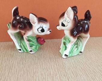 Two Vintage 50s Ceramic Deer Figurines