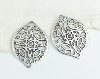 10%OFF Filigree Connector, Drop, Antique Silver w/ 2 Holes bracelet bead, oval Metal Casting, European zamac 29x22mm - 2 pcs